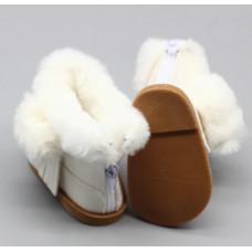 Сапожки мех. белые на куклу 40-43 см. арт. 001