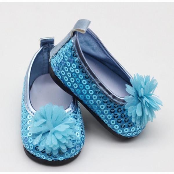 "Балетки ""голубые"" для куклы рост 40-43 см. арт. 006"